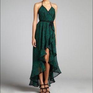 Dress The Population Green Black Halter Wrap Dress